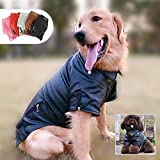 Lovelonglong Cool Dog Leather Jacket, Warm Coats Dogs Windproof Cold Weather Coats for Large Medium Small Dogs, Beagle Clothing Black L-S