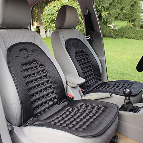 Ballshop 2 PCS Cushion Cover orthopaedic Car Seat Protect Back Support Front Seat Cover Automotive Accessories Interior Universal Car seat Protectors Air Bag Compatible for Driver and Passenger Black