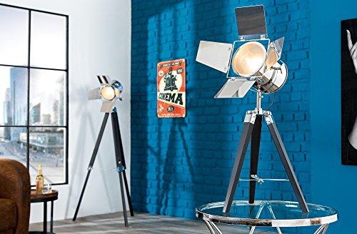 Lampe de table élégants Retro Noir chromé 65 cm Métal Table en bois Lampe trépied Design