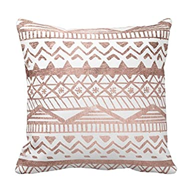 Zazzle Faux Rose Gold Handdrawn Geometric Aztec Throw Pillow 16  x 16