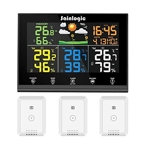 Sainlogic Funk Wetterstation mit 3 Außensensoren, Wettervorhersage, Farbdisplay, Funk Thermometer Hy-grometer mit Außensensor