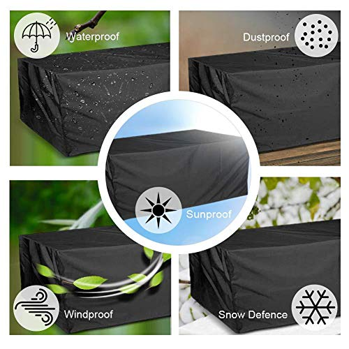 Wilxaw Furniture Cover 126X126X74CM, Outdoor Protective Cover for Garden Furniture, Heavy Duty 210D Oxford Fabric…