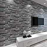 Brique Empilée 3D Papier Peint en Pierre Revêtement Mural Revêtement PVC Papier...