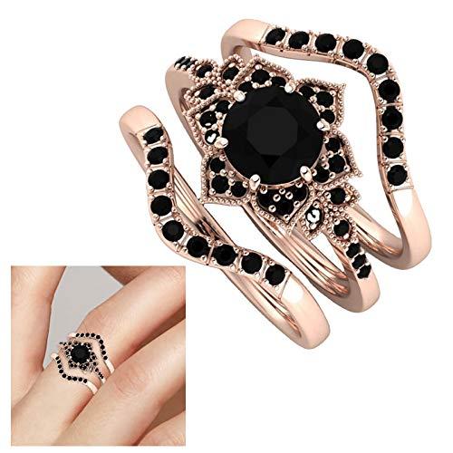 Janly Clearance Sale Anillos para mujer, juego de flores de tres piezas con anillos de circón, puede ser un regalo para el día de San Valentín, regalo de cumpleaños para mujeres y niñas (G)