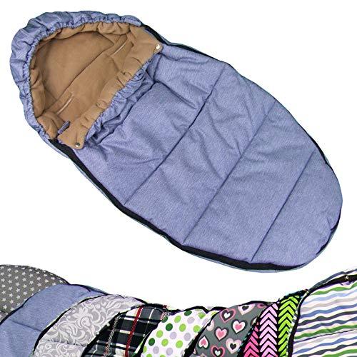 Bambiniwereld wintervoetzak, voetenzak in mummievorm voor kinderwagen, joggers, buggy of slee, universeel, 110 cm blauw gemeleerd