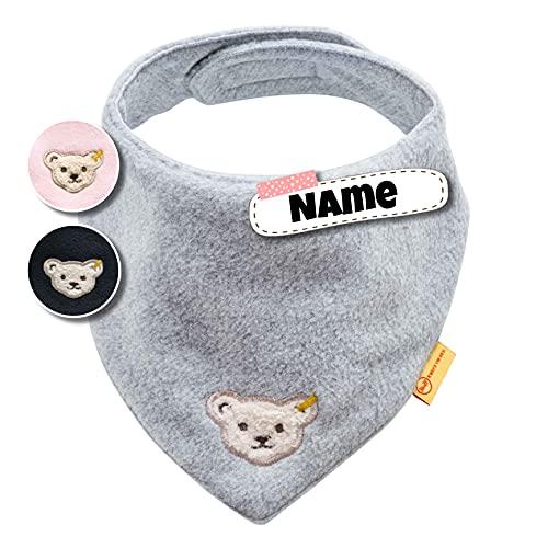 Steiff Baby Halstuch Steiff personalisiert Dreieckstuch | Fleece | individuell bestickt mit Namen | 0-2 Jahre | Klettverschluss | kuschelig warm | 3 Farben (Grau Fleece)