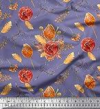 Soimoi Lila Baumwolle Batist Stoff Eiche Blätter im Herbst