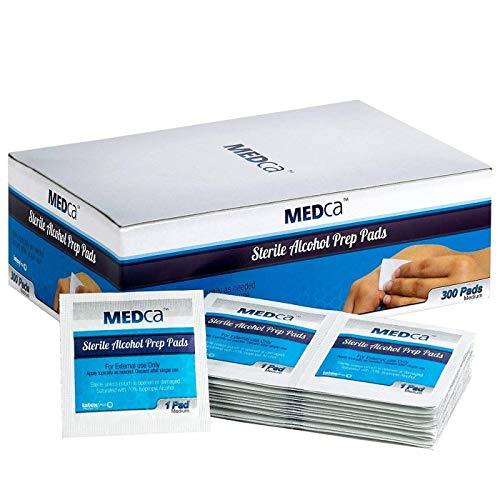 MEDca Alcohol Prep Pads, estéril, mediano, de 2 capas (paquete de 300)