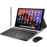 Tablet 10 Pulgadas 2 en 1 Tablets PC 4G/WiFi, 4GB RAM+64GB ROM/128GB (Oficina/Ocio Ordenador portátil) Android 9.0 Octa-Core 8500mAh Dual SIM Bluetooth/GPS/OTG Tablets de función de Llamada