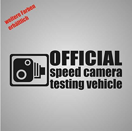Stickers Official Speed Camera Test Vehicle Sticker Decal Folie Tuning 17 x 6 cm wit