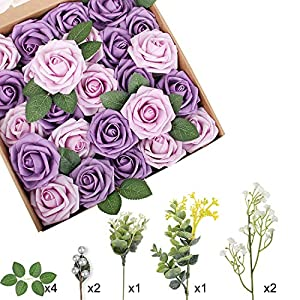 Silk Flower Arrangements Appok Artificial Flowers for Valentine's Day Roses Foam Rose - African Violet Purple Fake Roses Flower Combo with Stem for DIY Wedding Bouquets, Centerpieces, Party, Baby Shower, Home Decorations