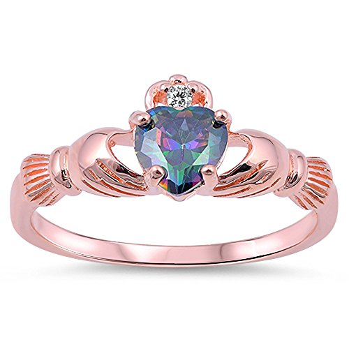 Rose Gold-Tone Rainbow Simulated Topaz Heart Claddagh Sterling Silver Ring Size 8