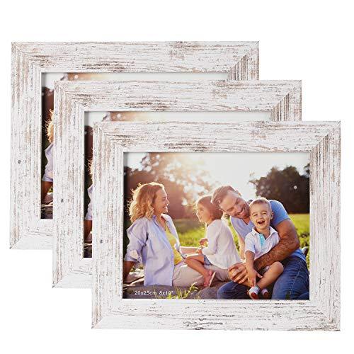 HelaAccueil 3er Set Holzbilderrahmen Bilderrahmen 20x25 cm, aus MDF mit Hochauflösende Glas (Vintage weiß, 8x10\'\')