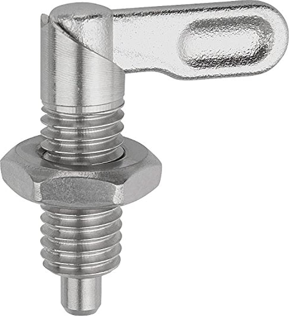 Kipp 03099-10506A6 Stainless Steel Cam Action Indexing Plunger, Style B, Inch, Natural Finish, 6 mm Locking Pin Diameter, 5/8-11