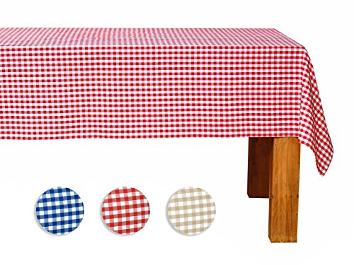 FILU Tischdecke 140 x 180 cm Rot/Weiß kariert (Farbe und Größe wählbar) - hochwertig gefertigtes Tischtuch aus 100% Baumwolle