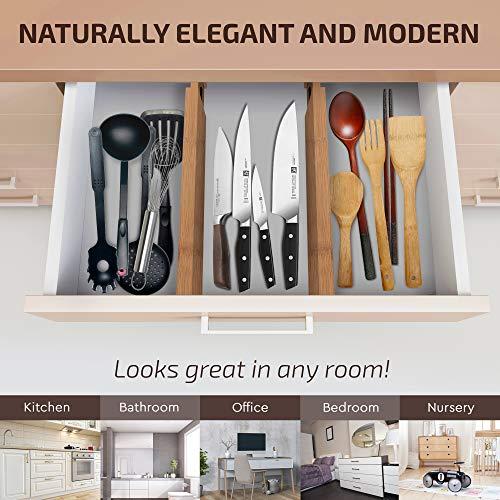 Bamboo Adjustable Drawer Dividers Organizers - Large Expandable Utensil Organizer Separators for Kitchen, Dresser, Bedroom, Baby Drawer, Bathroom
