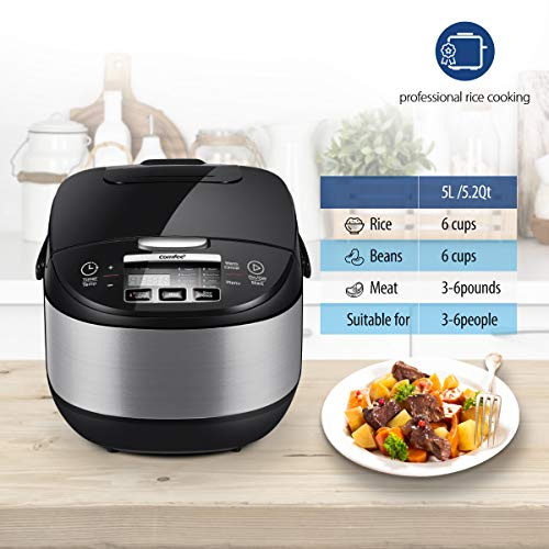 COMFEE' 5.2Qt Asian Style Programmable All-in-1 Multi Cooker, Rice Cooker, Slow Cooker, Steamer, Saute, Yogurt Maker…