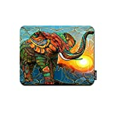 oFloral Elephant Gaming Mouse Pad Stained Glass Colorful Elephant Sunrise Geometric Galaxy Space Decorative Mousepad Rubber Base Home Decor for Computers Laptop Office Home 7.9X9.5 Inch