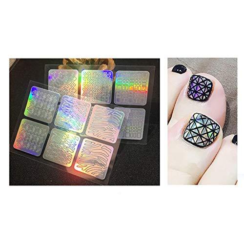 Ballylelly-tragbare Mini-Handy-Laser-Nagel-Aufkleber aushöhlen Nail Art 3D-Bild unregelmäßige Grid-Schablone Set wiederverwendbare Maniküre Aufkleber (bunt - 24pcs)