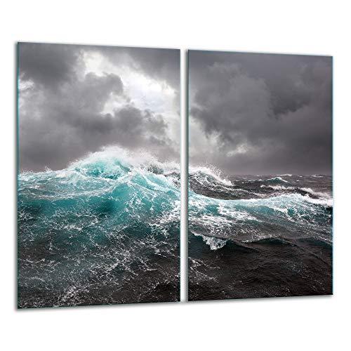 TMK   Herdabdeckplatten 2 Teilig 2x30x52 cm Ceranfeldabdeckung Küche Elektroherd Induktion Herdschutz Spritzschutz Glasplatte Schneidebrett Meer