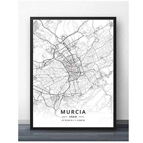 Murcia Oviedo Vigo Zaragoza España Mapa Viaje Ciudad Cartel Pintura Arte Cartel Imprimir Lienzo Decoración para el hogar Cuadro Impresión de la pared-50x70cm Sin Marco