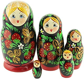 Azhna 5 pcs Classic Khokhloma Style Nesting Doll Hand Painted Russian Doll 10.5 cm Wooden Stacking Doll