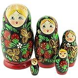 Azhna 5 Piezas Estilo clásico anidación muñeca Recuerdo decoración del hogar colección Pintado a Mano muñeca Rusa 10,5 cm Matrioshka apilamiento de Madera muñeca (Verde)