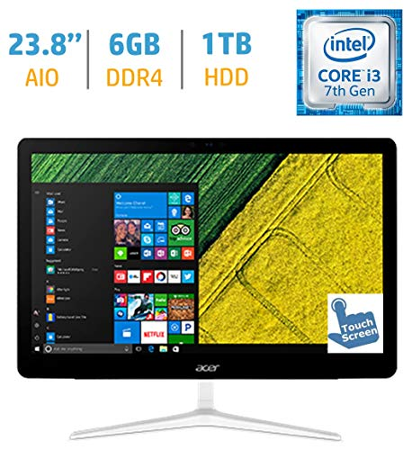 Newest Acer Aspire Z24 All-in-One 23.8-inch Touchscreen FHD 1080p Display Desktop PC (Intel Core i3-7100T Processor, 6GB DDR4 SDRAM, 1TB HDD, DVD-RW, Keyboard & Mouse, Windows 10-Silver)
