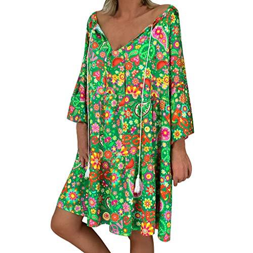 Routinfly Damen Kleid Abendkleid Cocktailkleid,Damen Langes Kleid Strandkleid mit Blumenmuster Boho Sommerkleider Kleid mit kurzen Ärmeln Damen Abendkleid Cocktailkleid