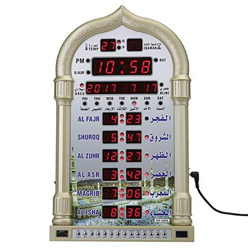 REFURBISHHOUSE 12 V Moschee Azan Kalender Muslim Gebet Wanduhr Alarm Ramadan Wohnkultur + Fernbedienung Eu Stecker