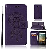ARSUE ZTE Prestige Case, ZTE Avid Plus Case, Soft Flip Folio PU Leather Wallet Owl Dreamcatcher Case with ID&Credit Card Pockets for ZTE Prestige N9132 / Avid Plus Z828 / Maven 2 / Sonata 3,Purple