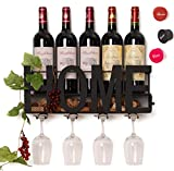 SODUKU Wall Mounted Metal Wine Rack 4 Long Stem Glass Holder & Wine Cork Storage