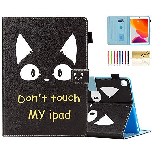 Casii - Funda para iPad 10.2 2020 2019 (piel sintética, ultrafina, función atril, función atril, función atril), diseño de gato y no toque mi iPad
