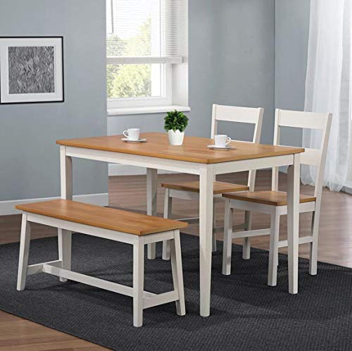 Home Treats Solid White Wooden Table with 2 Chairs & Bench for Kitchen Dining Room