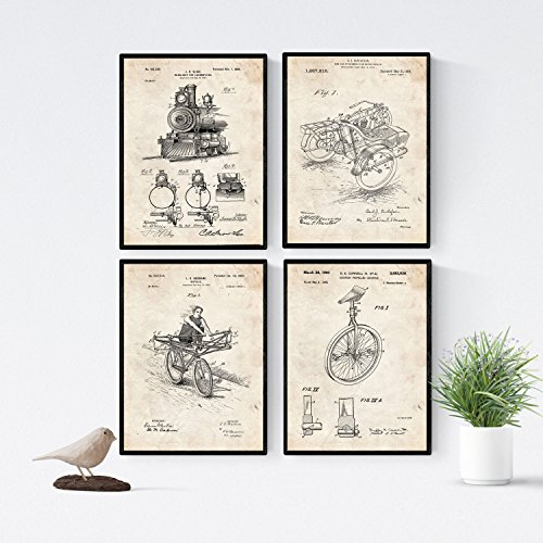 VINTAGE - Packung mit 4 Blatt mit PATENTEN Fahrzeug. Stellen Sie Plakate mit Erfindungen und alten Patenten. Wählen Sie die Farbe, die Sie mögen. Gedruckt auf hochwertigen 250 Gramm. Nacnic