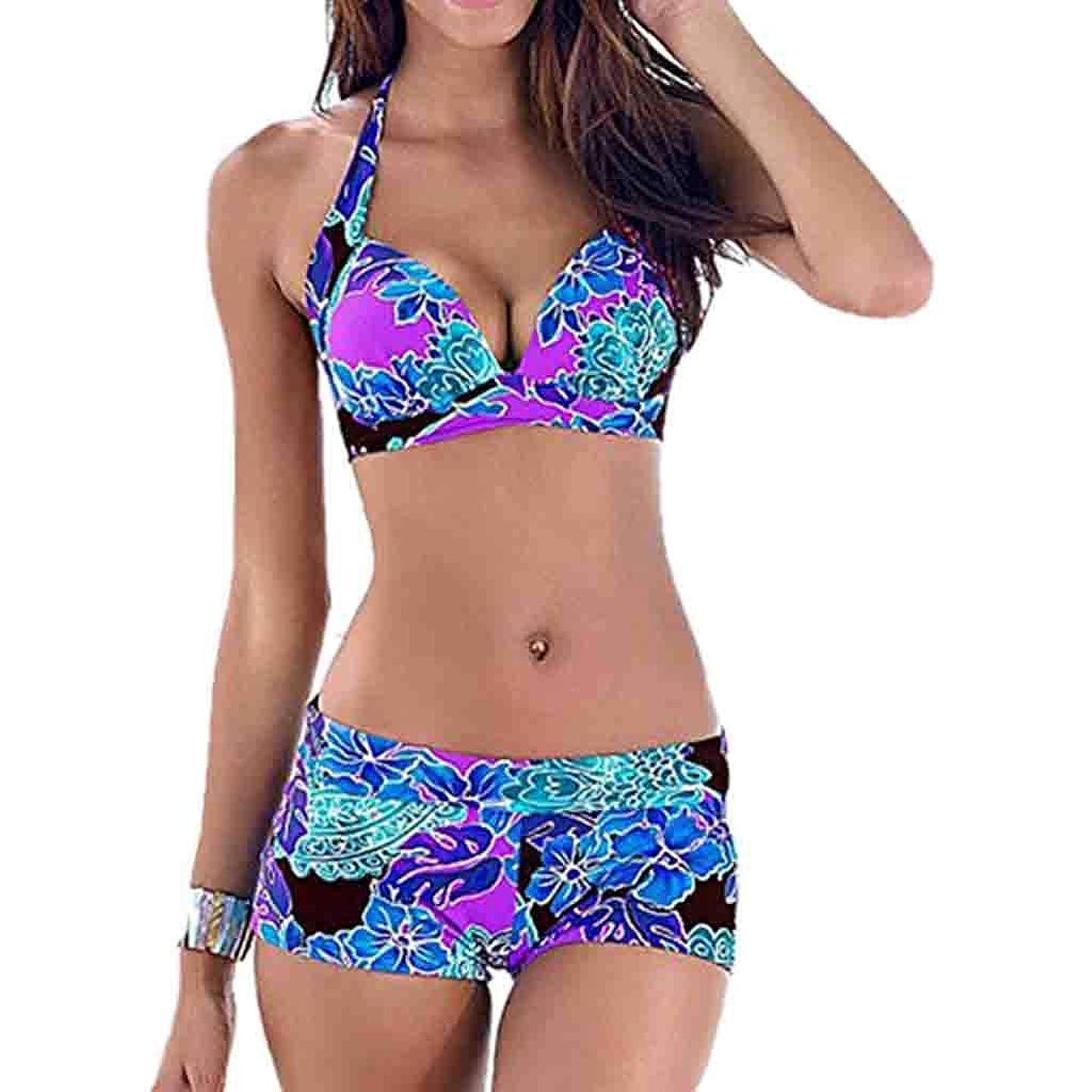 Womens Sexy Bikini Swimsuit,Floral Push up Padded Bra Two Piece Swimwear Shorts Bottom Bathing Suit hjcvctievsbx