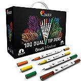 Zenacolor Pennarello Doppia Punta - 100 Colori Unici e Vivaci Pennarelli per Colorare Sottili (0,4mm) e punta a pennello (0,8mm) - Calligrafia, Disegno per Adulti e Bambini, Mandala, Bullet Journal