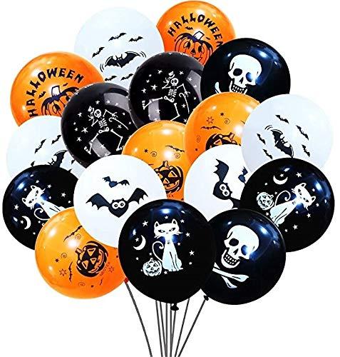 Decoracion Halloween Halloween Globos, Globos para fiestas, Halloween Fotomaton,Globos Negros Y Naranjas con Fantasmas, 100 Piezas Globos de Látex con para la Decoración de Fiestas de Halloween