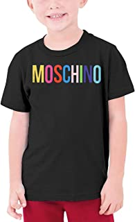 ZNT W KING Inspired by Moschino Girls' Crew T-Shirts 100% Soft Cotton Short Shirts Tees Black Boy/Infant Kids