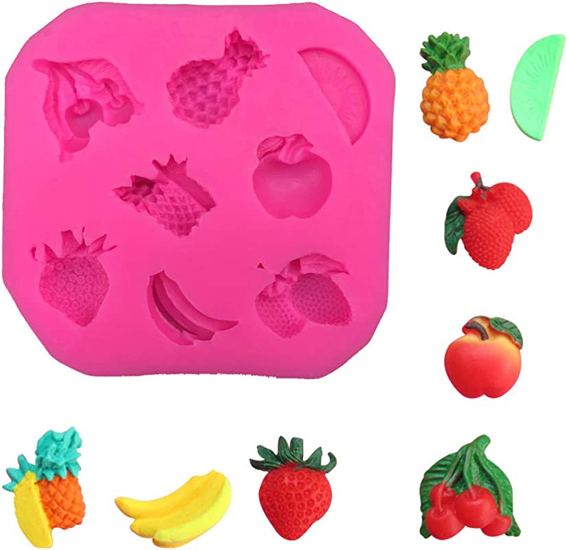 Cute Fruit Pineapple Banana Strawberry Apple Cherry DIY 3D Silicone Mold Making Ice Block Fondant Chocolate Soap Cake Mousse Jelly Decorating Tool