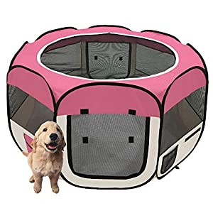afuLaI 45″ Portable Foldable Pet Playpen Exercise Pen Kennel with Carrying Case for Dog Cat Rabbit Hamster Indoor/Outdoor Use (Dogplaypen-Pink45in)