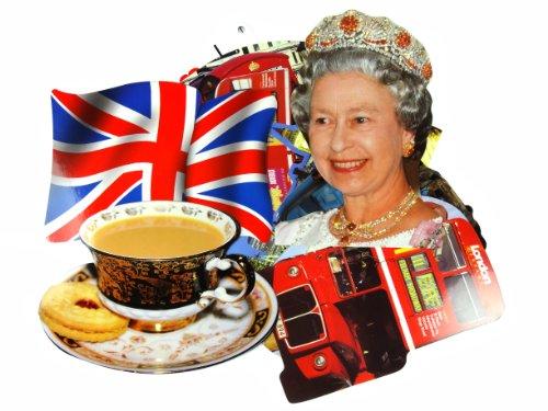 London Postkarten (Formen)–Eine Auswahl von 10Form Postkarten Kollektion mit verschiedene Symbole of London einschließlich der Queen Elizabeth II