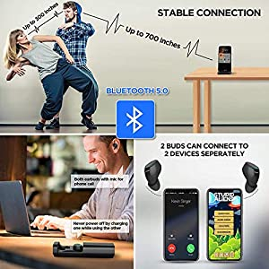 Wireless Earbuds, Soaiy T2 Finger Touch Bluetooth 5.0 True Wireless Stereo Bluetooth Ear Buds with Stable Connection, Patented Earphone Case Digit-Displaying Remained Power