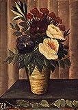 AMANUO Henri Rousseau Impresiones Pinturas Famosas sobre Lienzo Naturaleza Muerta 45X60 cm Cuadros Enrollada - Todavía Vida Con Las Flores