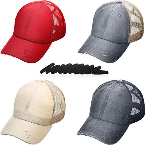 SATINIOR 4 Piece Washed Cotton Distressed Cap Denim Ponytail Hat Adjustable Baseball Cap Trucker Dad Hat with 10 Piece Hair Tie (Black, Dark Gray, Beige, Red)