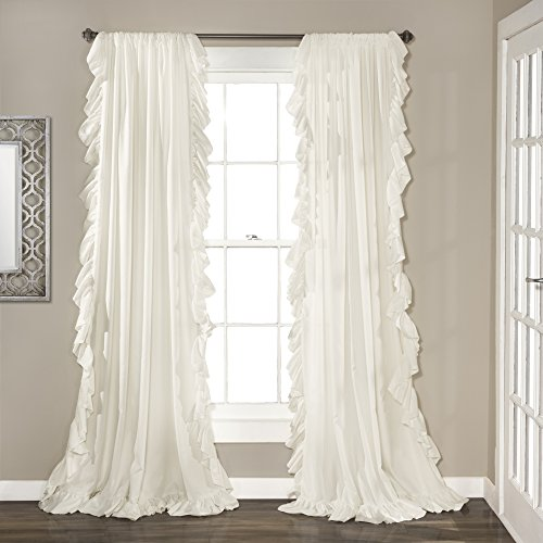 """Lush Decor White Reyna Window Panel Curtain Set for Living, Dining Room, Bedroom (Pair), 108"""" x 54"""", 108"""" x 54"""""""