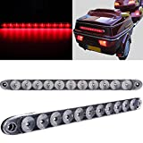 SCITOO 2 Pcs Truck Trailer RV Clear Lens Red LED 15' Waterproof Sealed 11 LED Light Bar Stop Turn Tail 3rd Brake Light