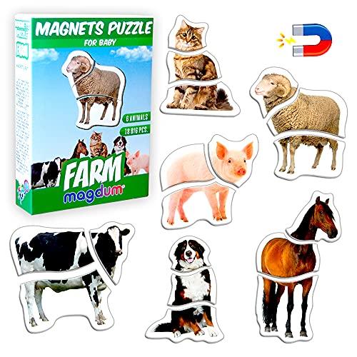 Magnetica puzzle 3 años MAGDUM Animales GRANJA - 6 Grandes Puzzle bebe 1 año - Juguetes magnéticos - Imanes nevera niños - Juguetes niños 3 años educativos - Letras magneticas niños - Imanes niños