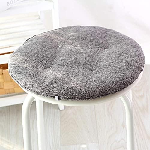 JYHJ Cojín redondo del asiento de la silla, lino respetuoso del medio ambiente suave acogedor cojín de la silla no resbalón portátil básico cojín sólido color-gris diámetro 45 cm