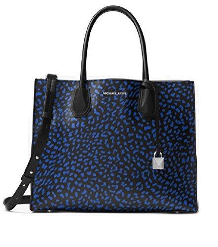 "Electric Blue Black Full Grain Leopard Print Leather Interior Details: Center Zip Compartment, Zip Pocket, Slit Pocket , Unlined Textured Coated Canvas Handle Drop: 5.5"" Adjustable Strap: 15.75""-18.25"" Silver-Tone Hardware , Beautiful Leopard Print l..."